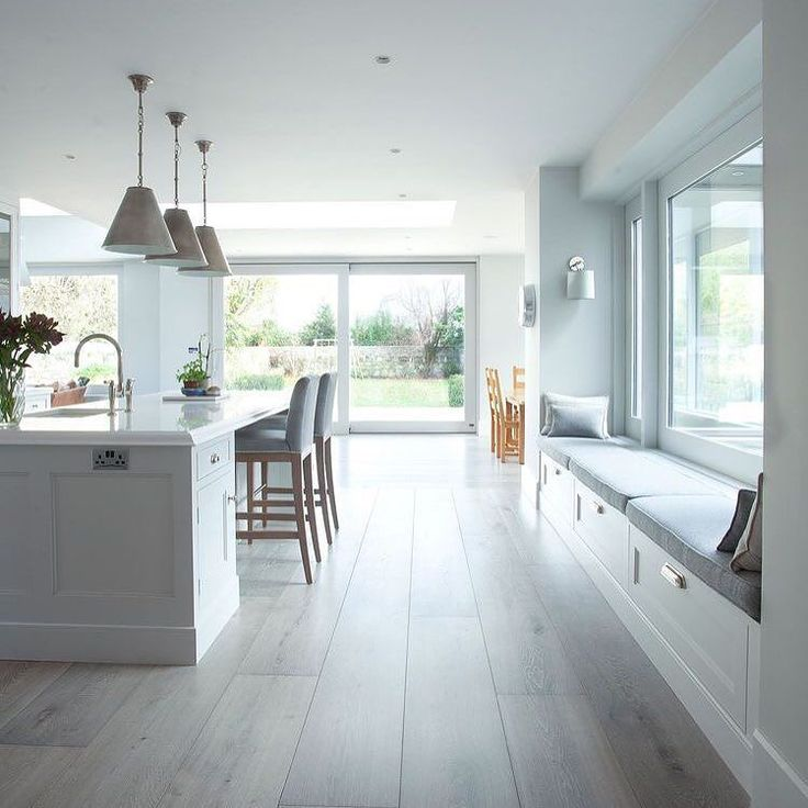 Great space for casual entertaining in the kitchen zone of this open plan space