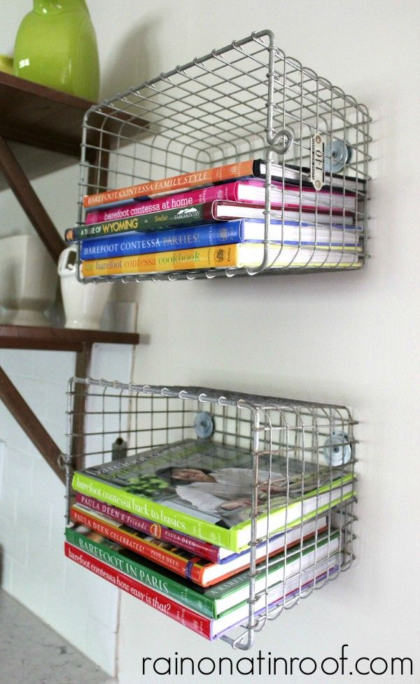 Metal locker baskets are a great way to store kitchen cookbooks (@ Rain on a Tin Roof)