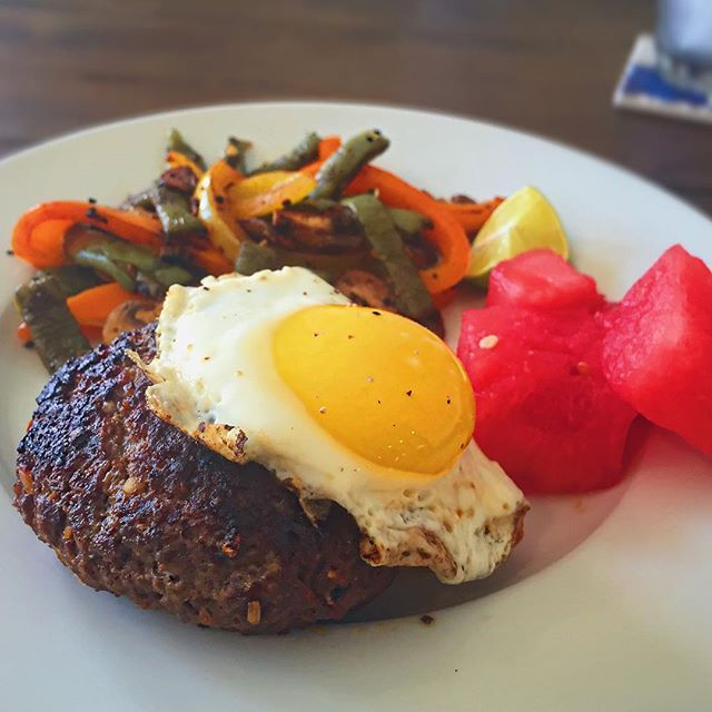 """After training today with future Mr. Olympia @jasonpostonpro, he let me hijack his kitchen to make #lunch. He had bison and cactus so I made us spicy bison burgers with an egg + """"nopalitos"""" stir-fry (cactus stir-fry) + watermelon. Jason is one of the few top athletes in the sport who is Type 1 diabetic so the meal I made had to be lower in sugar and carbs. I filmed our time together and I hope to publish it this week so be on the look out! If you're into bodybuilding or want more…"""