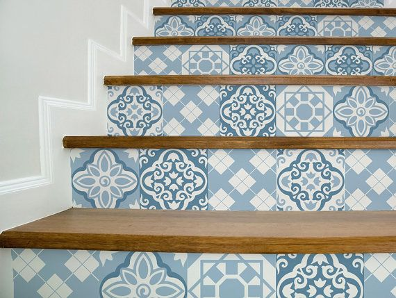 Set of 15 stickers for stairs in a variety of moroccan style designs in blue colors, vintage style design. You can rearrange and play around with the