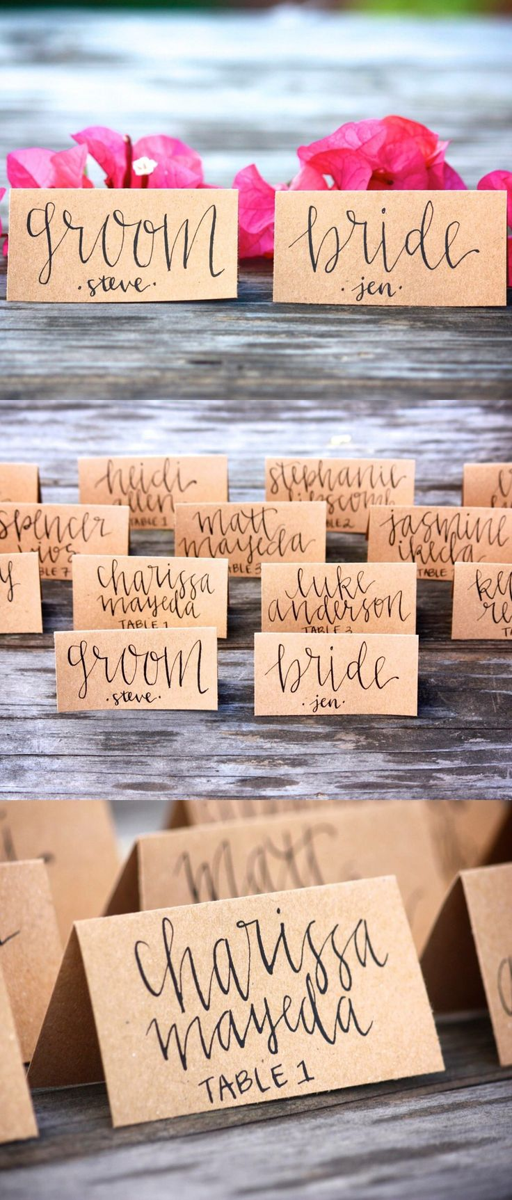 PLACE CARD WEDDING DECOR IDEAS || Wedding Place Cards - Tent Fold - Escort Card - Black Calligraphy with Kraft Paper - Bride Groom - Dinner Party - Name Tag || www.etsy.com/shop/FullyMade || red unique pink party favors little note thank you special day guest dance signs invitations personalized custom ideas unique shabby chic coral navy glitter dipped table setting floral plates white bougainvillea wine cursive vintage mint seating engagement theme parties bridal shower ideas rustic shabby…