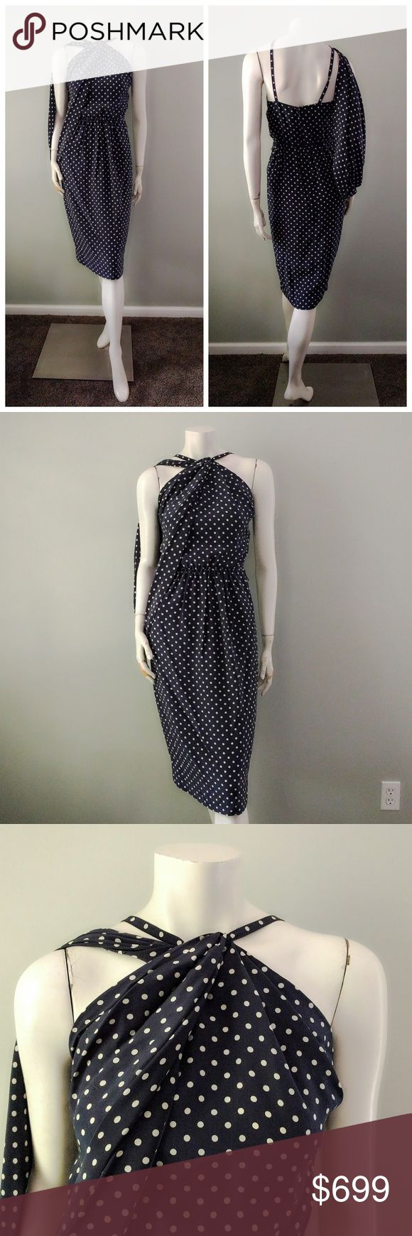 """VTG Bill Blass Silk Grecian Drape Polka Dot Dress From the estate of the matriarch of the Mandel family, who vacationed in Capri, Italy. Custom-made, special order Bill Blass in pure silk. Flattering halter neck with gorgeous arm drape. Very Amal Clooney.  In near-mint vintage condition (9.999/10). No stains or signs of wear. Missing original scarf belt, just crying out for an Hermes replacement! Comes from a smoke-free home.  BRAND: Bill Blass. SIZE: Labeled 8. BUST: 36"""" (can be…"""