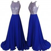 Hot Sell Long Prom Dress - Royal Blue A-Line Backless with Sequins