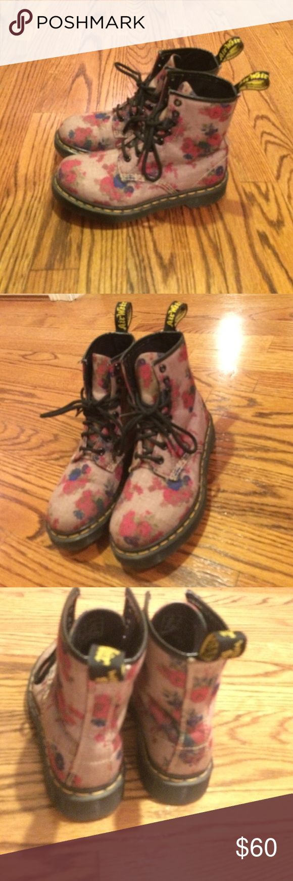Women's size 5 doc martens Floral size 5 women's doc martens! Gently worn and still in great condition! No visible scuffs or wear Dr. Martens Shoes Combat & Moto Boots
