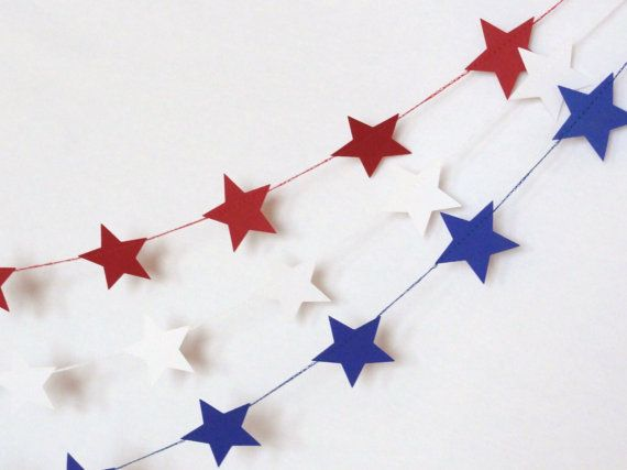 Blue Star Paper Garland Party Banner 9 feet by ShastaBlue on Etsy, $7.00