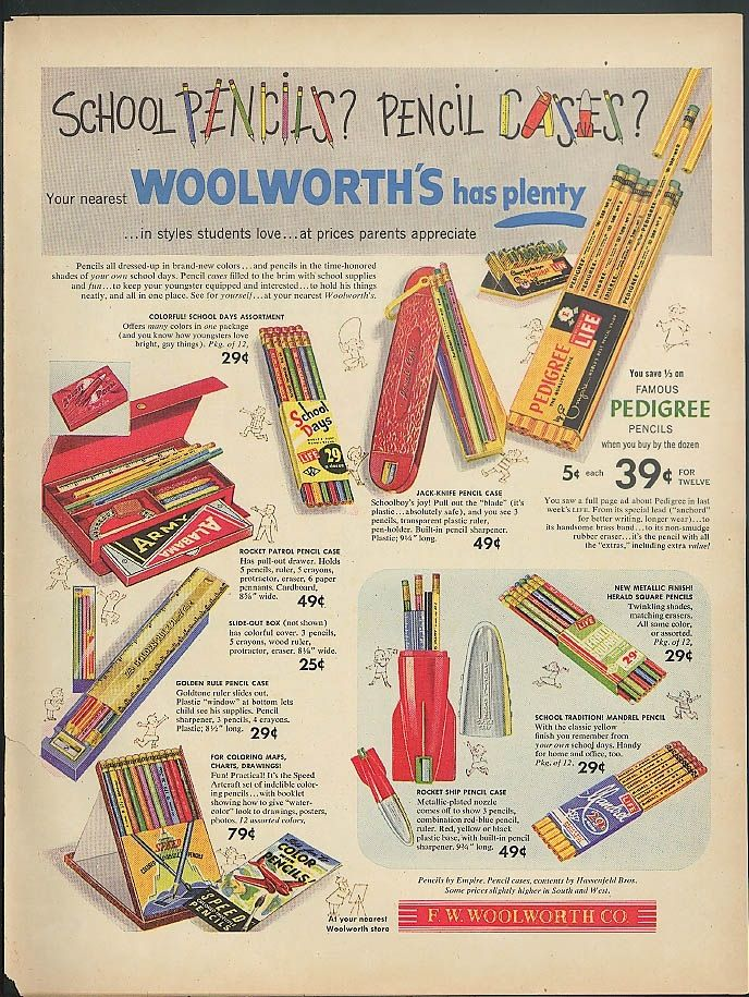 1953 - vintage ad for school supplies from F. W. Woolworth Co. - (school days, retro)