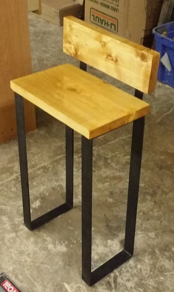 Bar Stool || Industrial Wood Chair || Steel Flat Bar Legs