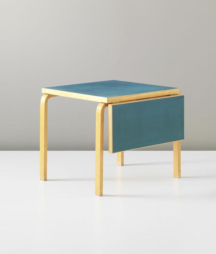 Alvar Aalto; Birch Plywood and Linoleum Table for Artek, 1930s.