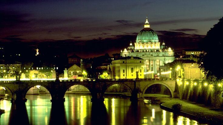 1366x768 Wallpaper italy, rome, basilica, bridge angel, st peters square, night, lights, reflection, vatican