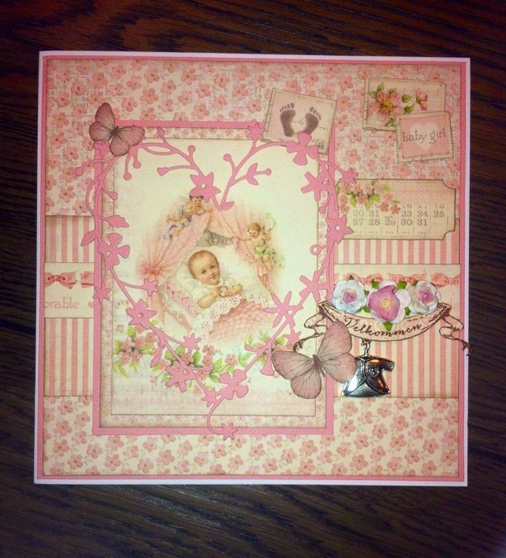 Card for Baby Girl, made with Sweet baby papers from Pion Design
