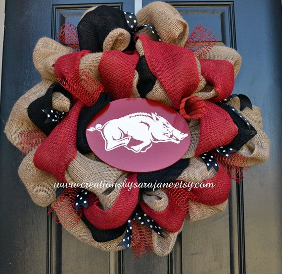 Burlap Razorback Wreath - University of Arkansas Wreath on Etsy, $90.00