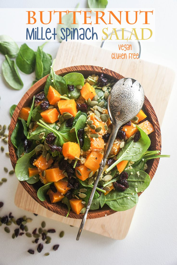 Butternut, Millet & Spinach Salad -- a wonderfully sweet, healthy, and energizing winter salad. Gluten free!