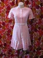 Pink gingham cotton dress