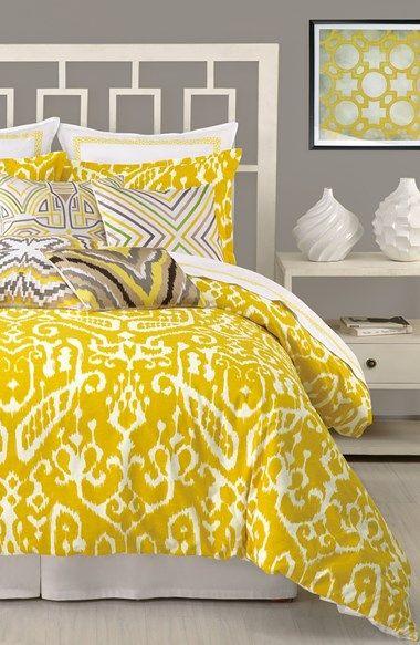ikat print duvet cover in yellow