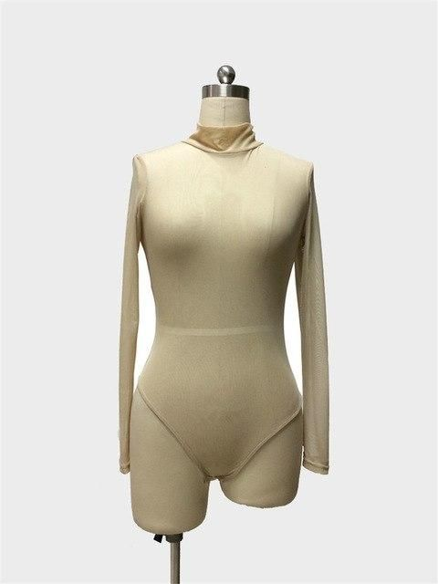 VISNXGI Transparent Bodysuit Women Rompers Bodycon Jumpsuit Long Sleeved Mesh Bodysuit Sheer See Through Turtleneck Bodysuits 2