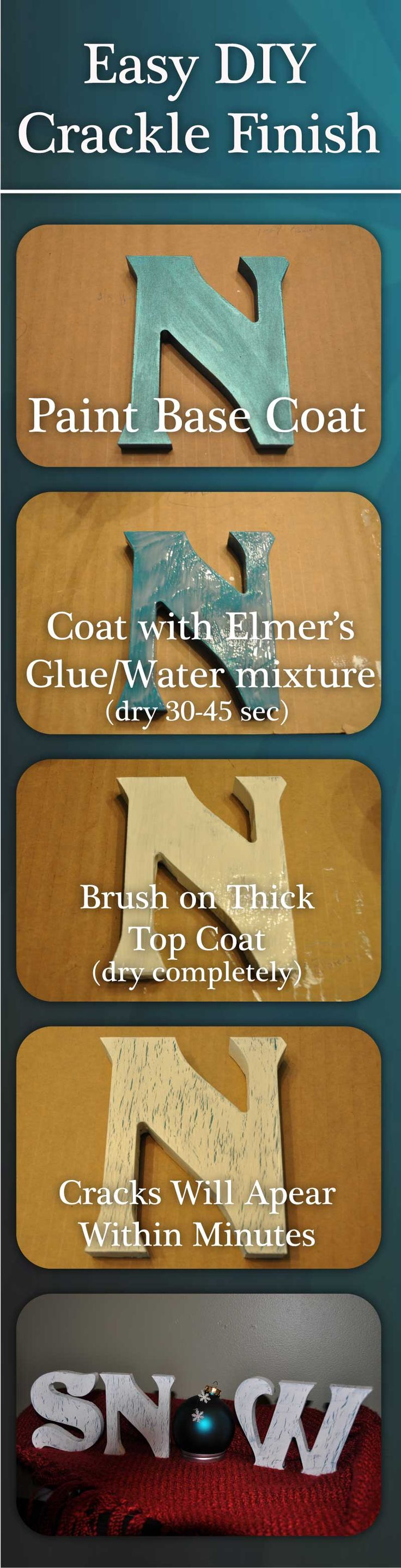 Easy DIY Crackle Finish using.... Elmer's Glue! Another pinner said: This has beaten out tons of products and given me the best crackle effect so far