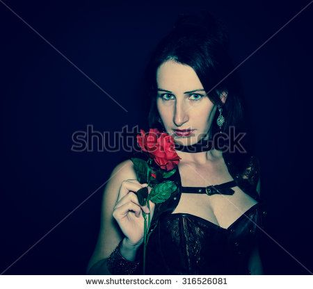 Dark portrait of sensual steampunk girl isolated on black background. #Steampunk #Cyborg #Woman #Girl #Corset #Breast #Sensual #Sexy #Hot #Rose #Flower #Erotic #Fashion #Model #Portrait #Passion #Romantic #SaintValentine #Festive