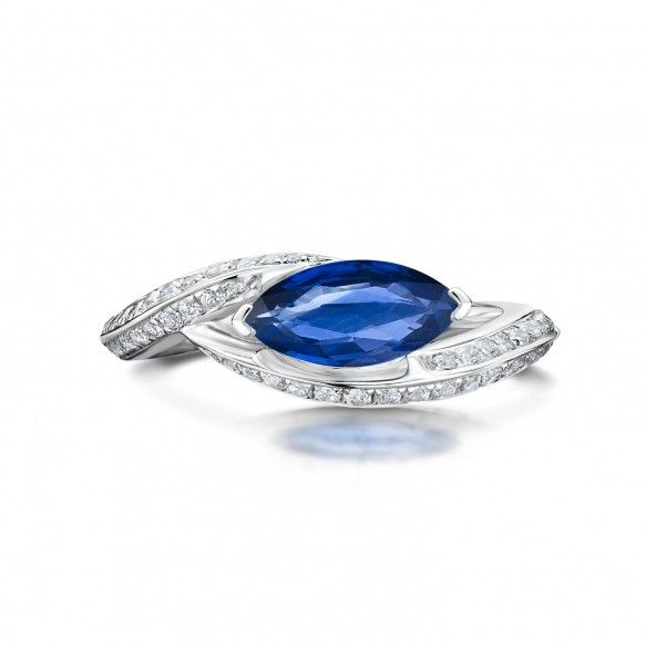 Iconic Platinum 2.04ct Marquise Cut Sapphire and Diamond Ring
