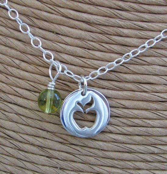 silver apple charm necklace  ready to ship by juliethefish on Etsy