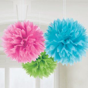 Multi-Coloured Fluffly Pom Pom Decorations (3) [18055-90] - £5.95 : 1st birthday Party for Kids, Childrens, Boys and Girls: First Birthday