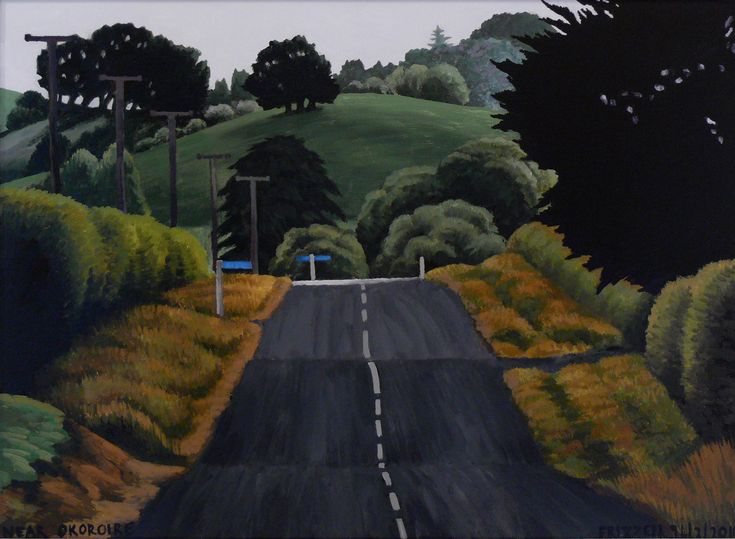 Dick Frizzell, 2014, Near Okoroire, acrylic on canvas, 520x670mm