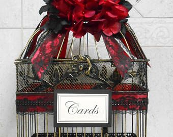 Birdcage Wedding Card Holder / Red and Black Wedding Decor / Gothic Wedding Decor / Gothic Birdcage Wedding Cardholder / Wedding Birdcage