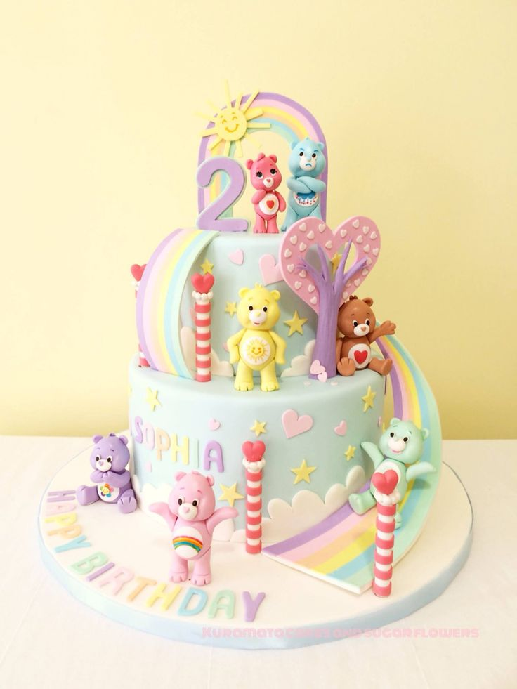 Care bear birthday cake!                                                                                                                                                                                 More