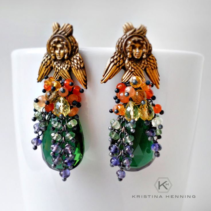 Bohemian gypsy statement earrings - ombre stones, brass & silver - Kristina Henning