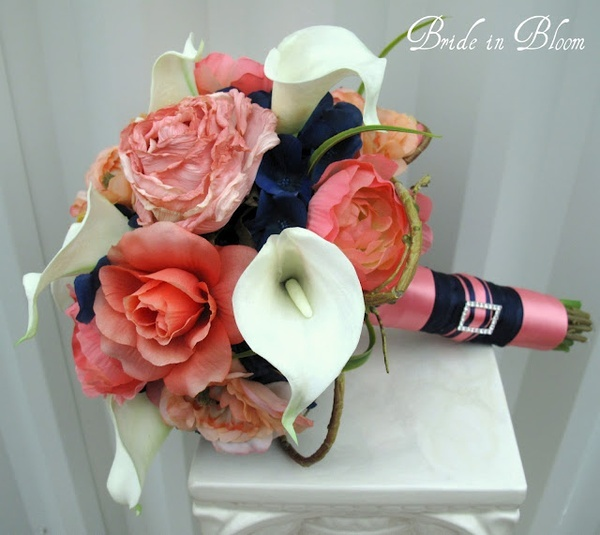 Navy Blue And Coral Wedding: Coral Roses And White Calla Lilies