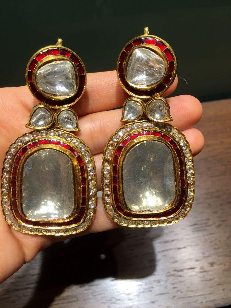 Massive uncut diamond earrings, such a beauty!! From Jewels by Rakesh Khanna…