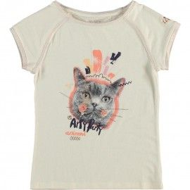 T-shirt with short raglan sleeves and round neck. Contrasting gold glittered neckline and sleeve seams. Multicolor cat's face print on the front.