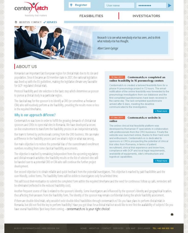 Web design and development - Content page - http://www.centermatch.ro