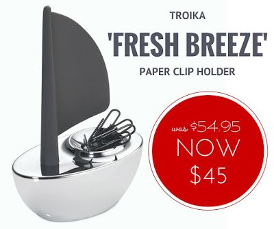 WEEKLY SPECIAL: Troika 'Fresh Breeze' Paper Clip Holder NOW $45 (was $54.95). This is one stylish desk accessory that will get 'pride of place' on his desk. Only while stocks last. #Troika #gadgetgifts #giftsformen