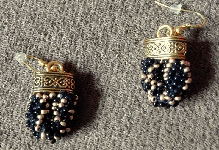 Black Gold, Beaded Rope Earrings,  Peyote,  Bead Crochet Earrings, Geometric Earrings, Rock Earrings, Elegant Earrings by IMAGINARIUM2015 on Etsy