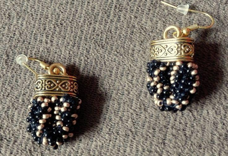 Black Gold, Beaded Rope Earrings,  Peyote,  Bead Crochet Earrings, Geometric Earrings, Rock Earrings, Elegant Earrings by IMAGINARIUM2015 on Etsy
