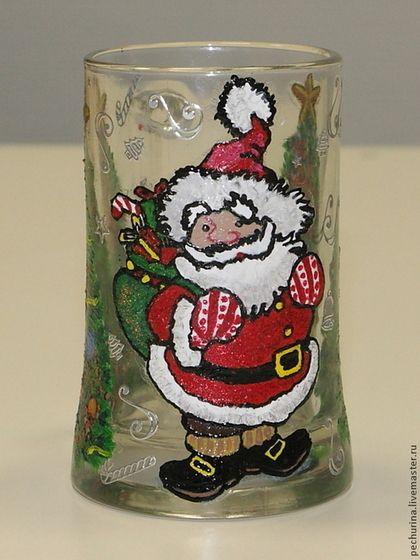 """Пивная кружка """"Санта"""" - Пивная кружка,пивной бокал,Декупаж,роспись,Роспись по стеклу"""