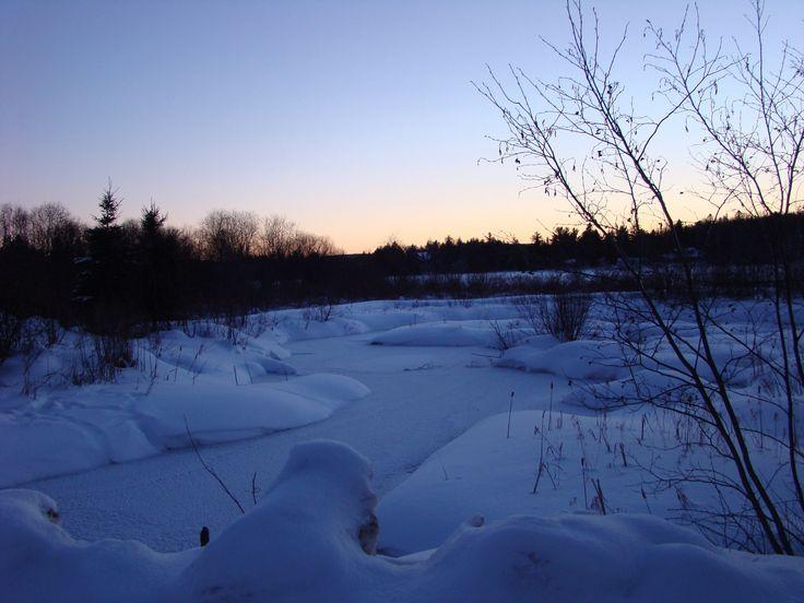 Snow covered creek, near Kearney On. pinned by girlfriendgetaway.ca