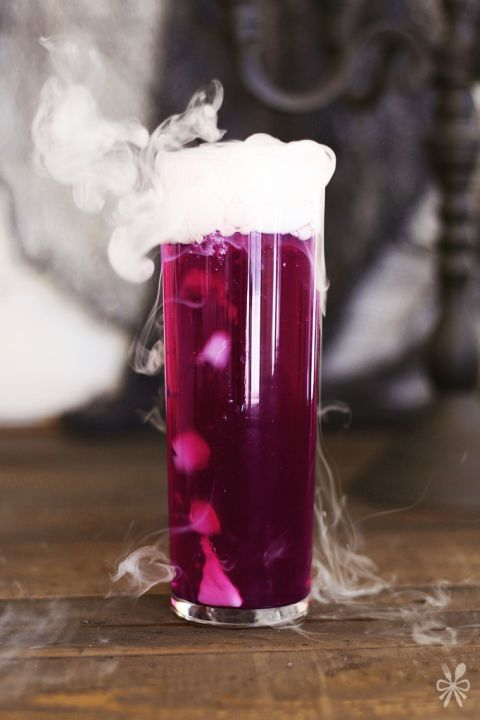 Purple Potion: Stir up a powerful potion with this vodka, soda, and juice mix. Use dry ice to make it smoke and create its haunting effect in this chilling and spooky Halloween cocktail. Remember to let guests know they shouldn't consume the dry ice. Find more spooky and tasty Halloween cocktail recipes that are filled with rum, bourbon, whiskey, vodka and much more here.