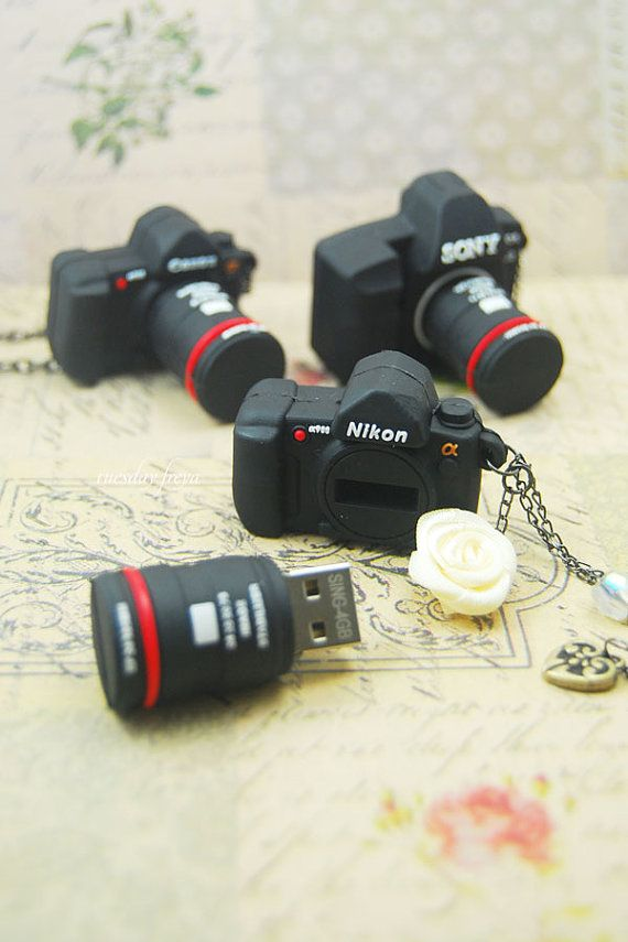 Mini DLSR 16GB USB flash drive necklace or keychain (MADE TO ORDER) by Tuesday Freya on Etsy