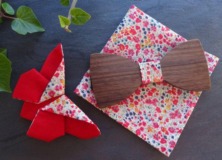 Ensemble Liberty noeud papillon bois + pochette + broche papillon Origami en Lib…