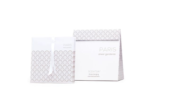 PARIS (Sheer Gardenia) - 3 hanging scented sachet // Succumb to French romance with this bountiful bouquet of gardenia with alluring hints of jasmine, lilac and hyacinth