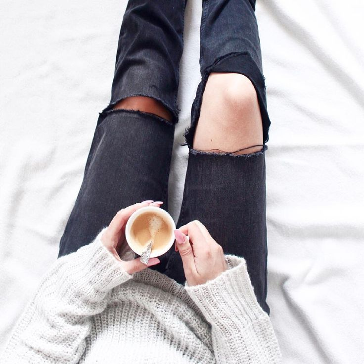 Coffee, cozy knits and blankets, ripped jeans -- perfect day at home