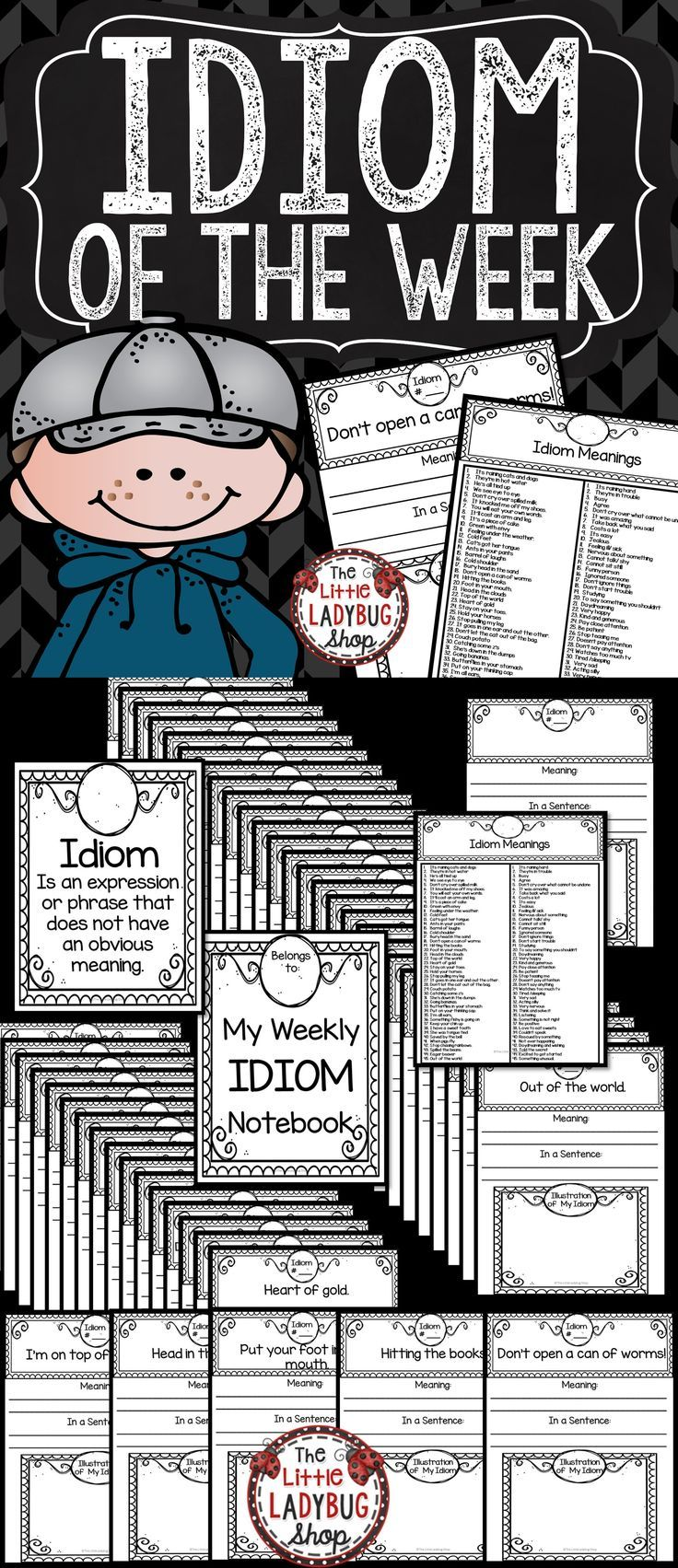You will love this Idiom Of The Week Packet. They are such a fun and exciting way to add growth to our writers with figurative language. We loved studying Idioms in our classroom and this booklet is No Prep to make teaching easier!