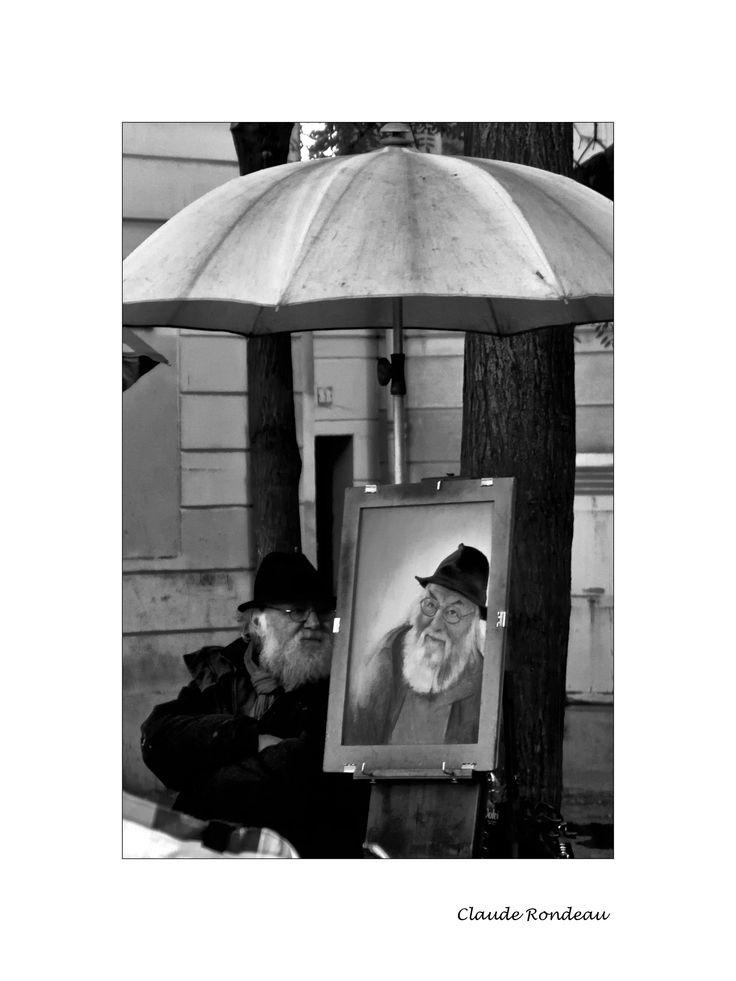 Paris, Montmartre, place du Tertre, autoportrait