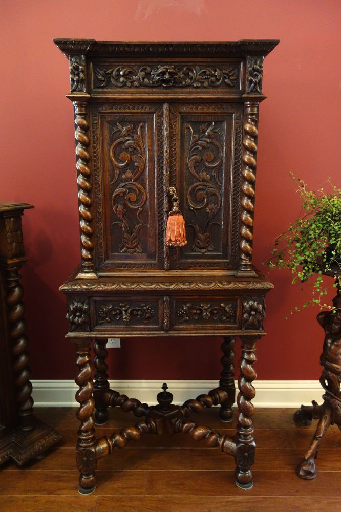 Exceptional Antique French Carved Oak Barley Twist Cabinet Renaissance Bookcase Black  Forest