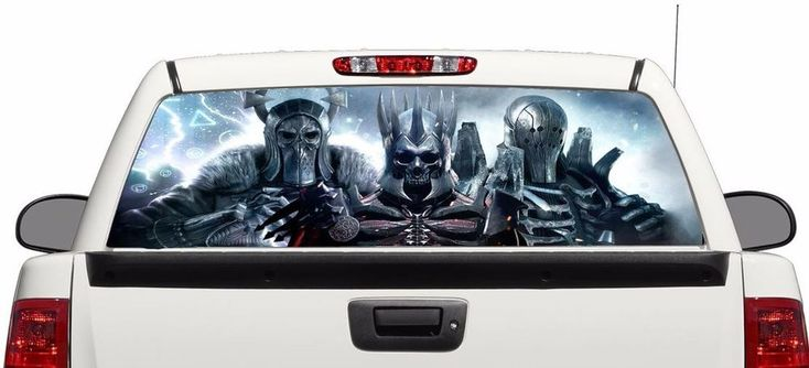 Skull dark monsters rear window graphics Decal Sticker 50/50view 66''x22'' Truck #Perforated