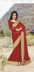 Buy red colour #Georgette material #designer #saree #saari from yellowfashion.in