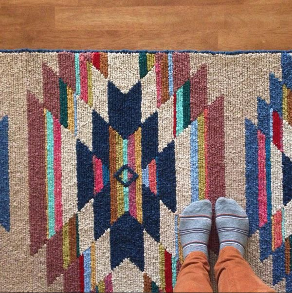 Stacie Schaat's Locker Hooked Runner -  7 foot long rug.