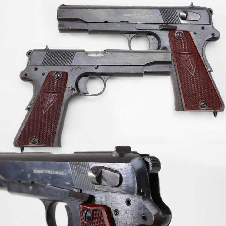 Polish Radom VIS-35 Semi-Automatic Pistol - The Polish army selected the VIS-35 pistol in 1935 & started production at Radom. The new 9mm handgun design borrowed elements of both Browning (barrel lug) & Colt (grip safety) pistols. This later WWII example lacks the stripping catch present in early Radom pistols, but retains the grip safety & plastic grip panels. But production came to an end in 1944 when Russian forces destroyed the Radom factory. NRA National Firearms Museum, Fairfax, VA |⇆…