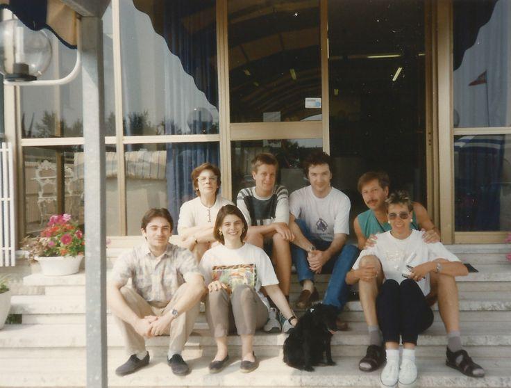 #HotelRudyCervia staff in the '90s: Fatma, Giorgio, Anna, Domenico with some guests